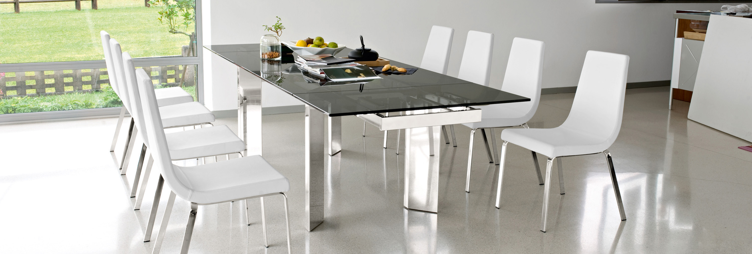 Calligaris Tower Modern Extendable Glass Dining Table  : cs4057 rgtgcs1095 lh700 from calligarisla.com size 3000 x 1016 jpeg 591kB