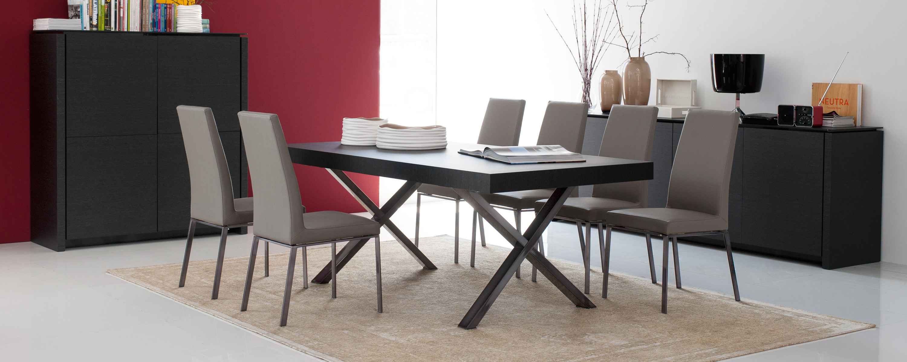 Superb img of Calligaris Axel Wood and Metal X Frame Extendable Dining Table  with #792F38 color and 3000x1199 pixels