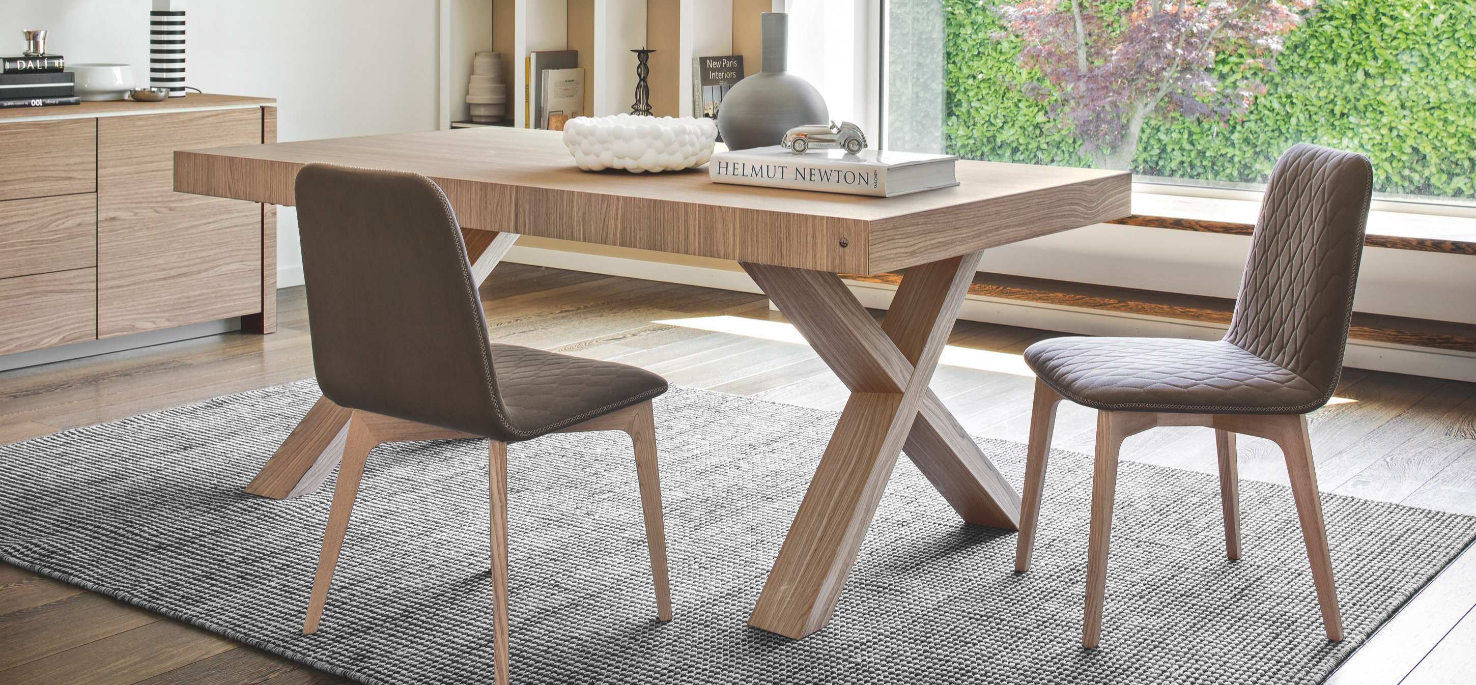 Calligaris Two Wooden Extendable Trestle Table