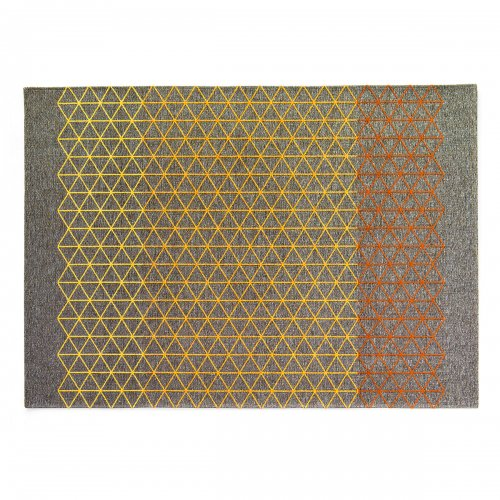 APOTEMA Rug chenille/cotton GREY/OCHRE YELLOW/ORANGE/ RUST BROWN