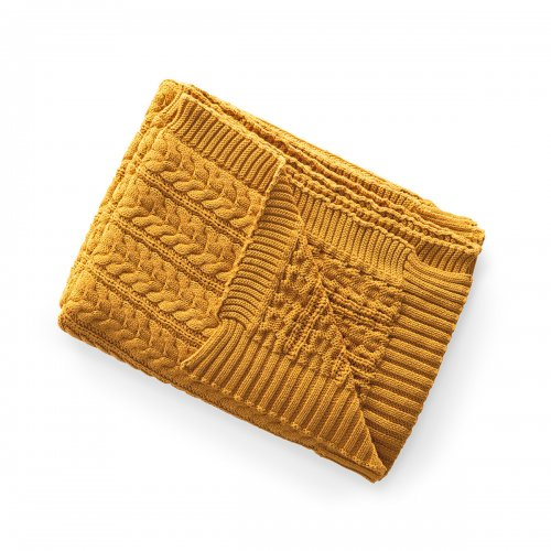 BAKER Throw cotton OCHRE YELLOW
