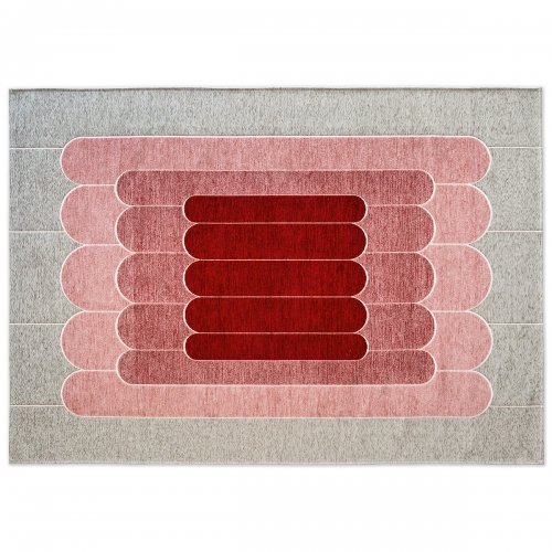 LINEE Rug chenille/cotton GREY/VARIOUS SHADES OF PINK
