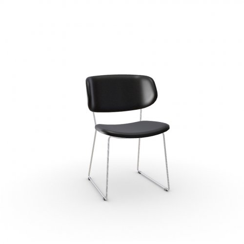 CLAIRE M Frame P77 met. CHROMED  Seat 683 soft leather BLACK
