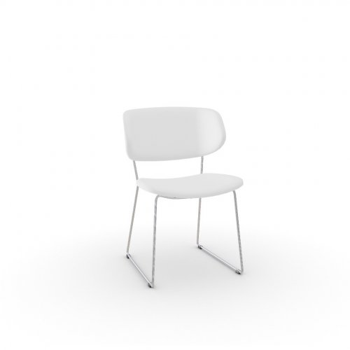 CLAIRE M Frame P77 met. CHROMED  Seat 705 soft leather OPTIC WHITE