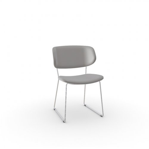 CLAIRE M Frame P77 met. CHROMED  Seat D04 soft leather TAUPE