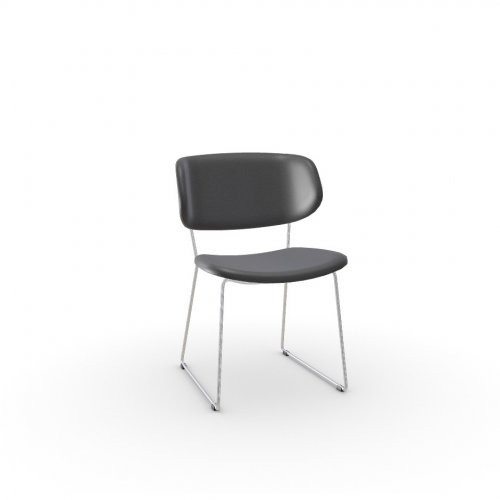CLAIRE M Frame P77 met. CHROMED  Seat L16 soft leather GREY