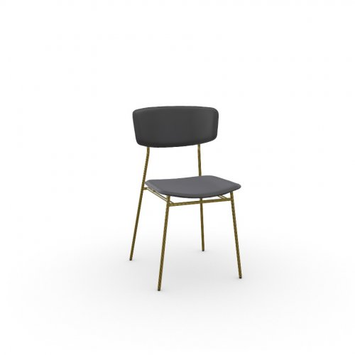 FIFTIES Frame P175 met. POLISHED BRASS  Seat 399 leather BLACK