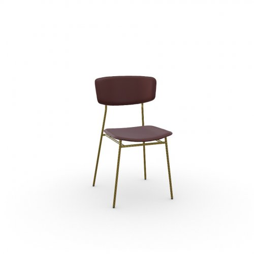 FIFTIES Frame P175 met. POLISHED BRASS  Seat L07 leather BURGUNDY