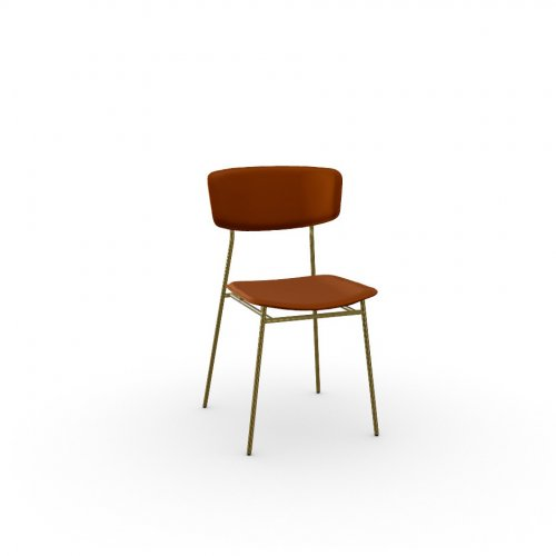 FIFTIES Frame P175 met. POLISHED BRASS  Seat S0K Venice BRICK RED