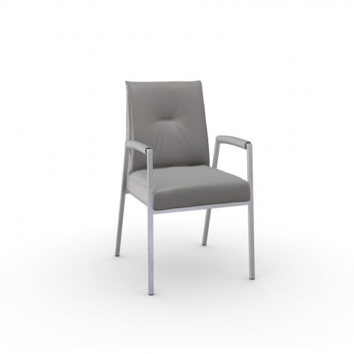ROMY Frame P05 met. BRUSHED METAL  Seat D04 soft leather TAUPE