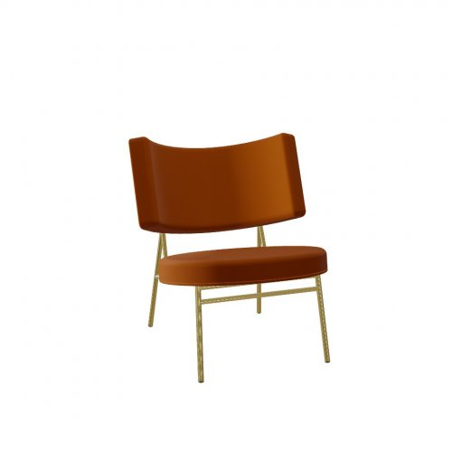 COCO Frame P175 met. POLISHED BRASS  Seat S0K Venice BRICK RED