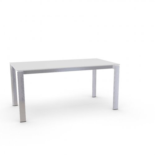 DUCA Top GEW temp.glass FROSTED EXTRACLEAR  Frame P74 met. POLISHED ALUMINIUM  Legs P77 met. CHROMED