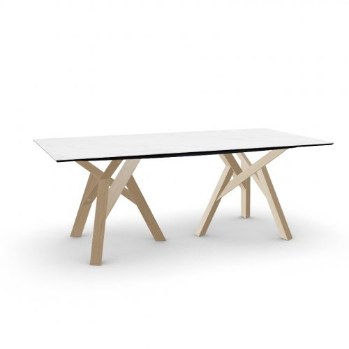 JUNGLE Top P2C ceramic (g) WHITE MARBLE  Frame P19W ash. NATURAL OAK  Legs P19W ash. NATURAL OAK