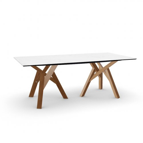 JUNGLE Top P2C ceramic (g) WHITE MARBLE  Frame P201 ash. WALNUT  Legs P201 ash. WALNUT