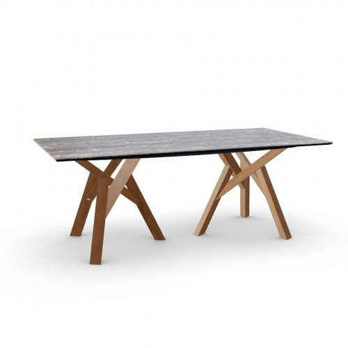 JUNGLE Top P3C ceramic (g) BLACK MARBLE  Frame P201 ash. WALNUT  Legs P201 ash. WALNUT