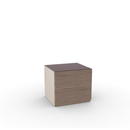 CITY Frame P27 ven.fin. NATURAL  Drawers P27 ven.fin. NATURAL  Top GK temp.glass FROSTED COFFEE