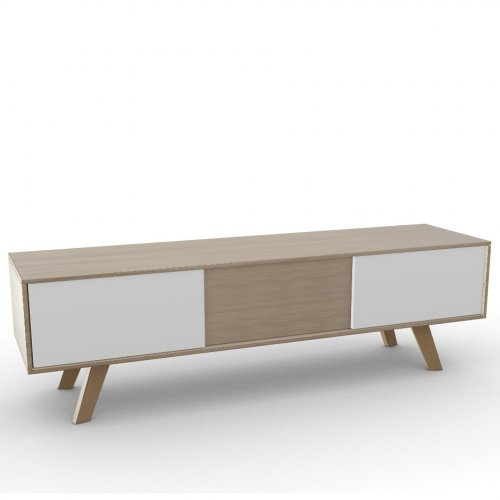 ADAM Frame P19W oak ven. NATURAL OAK  Drawers P94 lacq. MATT OPTIC WHITE  Base P19W ash. NATURAL OAK
