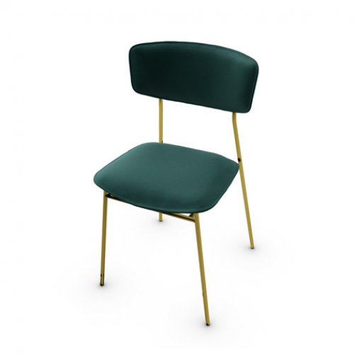 CS1854 FIFTIES Frame P175 met. POLISHED BRASS Seat S0H Venice FOREST GREEN
