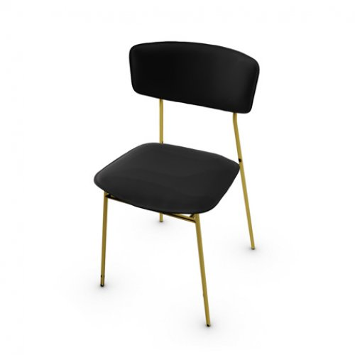 CS1854 FIFTIES Frame P175 met. POLISHED BRASS Seat 399 leather BLACK