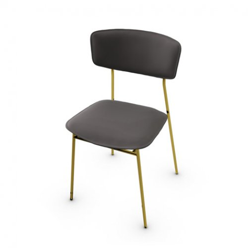 CS1854 FIFTIES Frame P175 met. POLISHED BRASS Seat L06 leather MUD BROWN