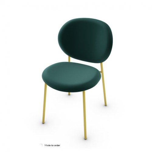 CS2004 INÈS Frame P175 met. POLISHED BRASS Seat S0H Venice FOREST GREEN