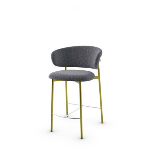 CS2032 OLEANDRO Frame P33L met. PAINTED BRASS Seat SLW Bouclé ANTHRACITE GREY