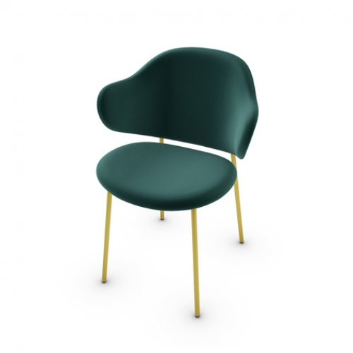 CS2037 HOLLY Frame P175 met. POLISHED BRASS Seat S0H Venice FOREST GREEN