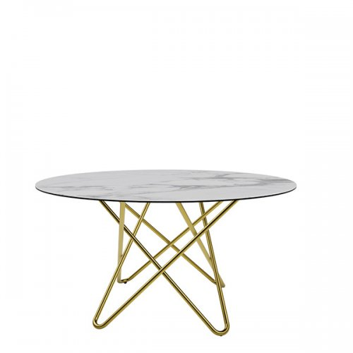 CS4112-FD 140 STELLAR Legs P175 met. POLISHED BRASS Frame P175 met. POLISHED BRASS Top P2C ceramic (g) WHITE MARBLE