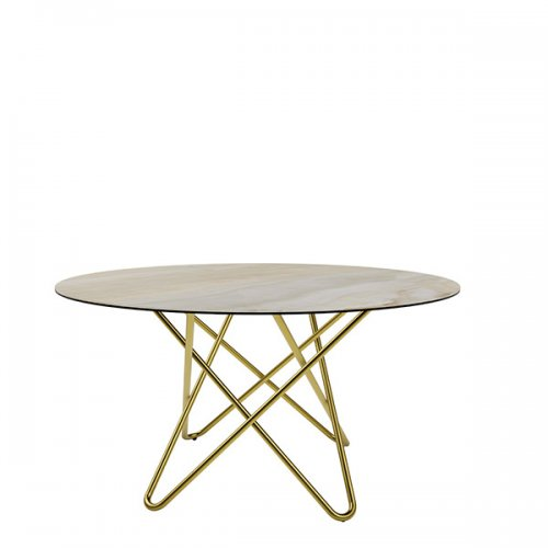 CS4112-FD 140 STELLAR Legs P175 met. POLISHED BRASS Frame P175 met. POLISHED BRASS Top P4C ceramic (g) GOLDEN ONYX MARBLE