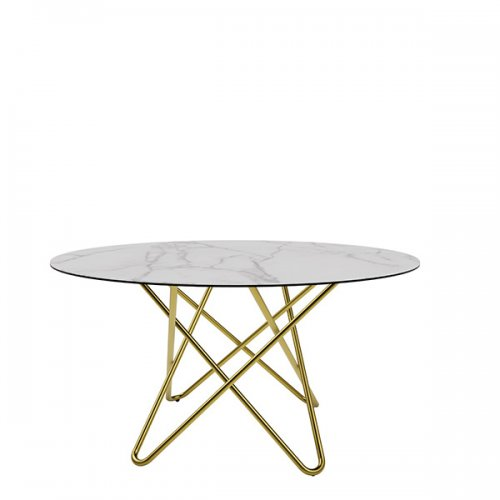 CS4112-FD 140 STELLAR Legs P175 met. POLISHED BRASS Frame P175 met. POLISHED BRASS Top P9C ceramic (g) SILK WHITE MARBLE