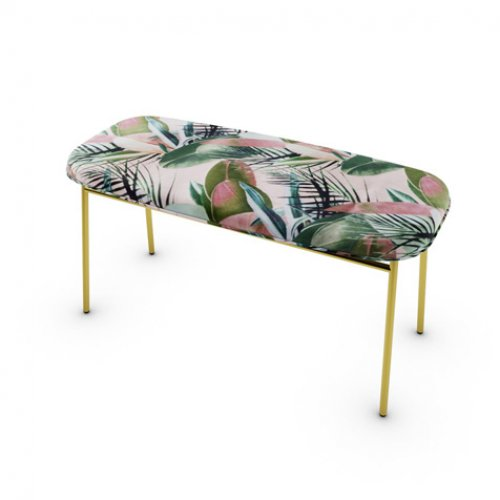 CS5126 FIFTIES Frame P175 met. POLISHED BRASS Seat S7E Leaves PINK
