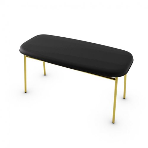 CS5126-LH FIFTIES Frame P175 met. POLISHED BRASS Seat 399 leather BLACK