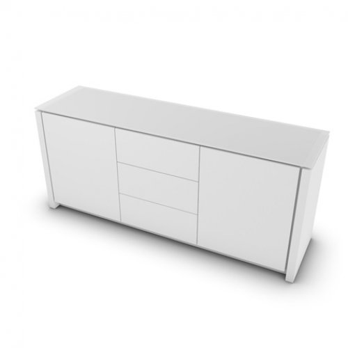 CS6029-10A MAG Internal frame P262 mel. WHITE Doors/drawers P94 lacq. MATT OPTIC WHITE Top GEW temp.glass FROSTED EXTRACLEAR