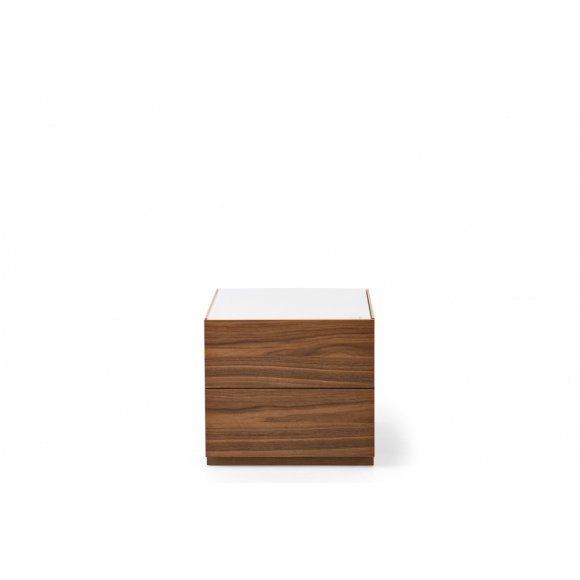 City (A): Compact Modern 2 Drawer Wood and Glass Nightstand